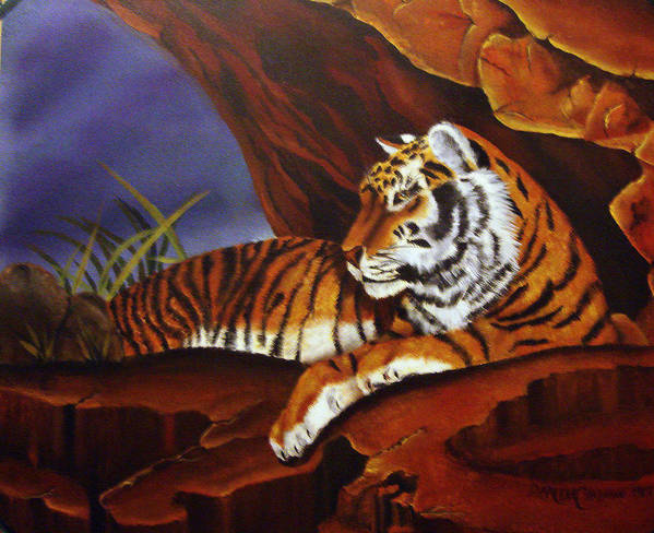 Tiger Art Print featuring the painting Taking Cover by Darlene Green