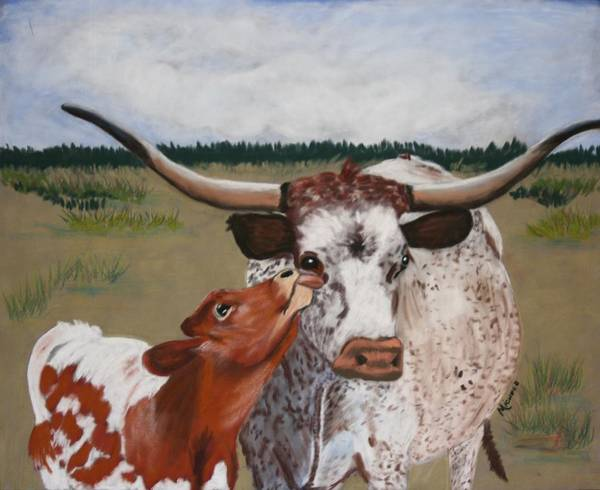 Cows Art Print featuring the pastel Texas Love by Michele Turney