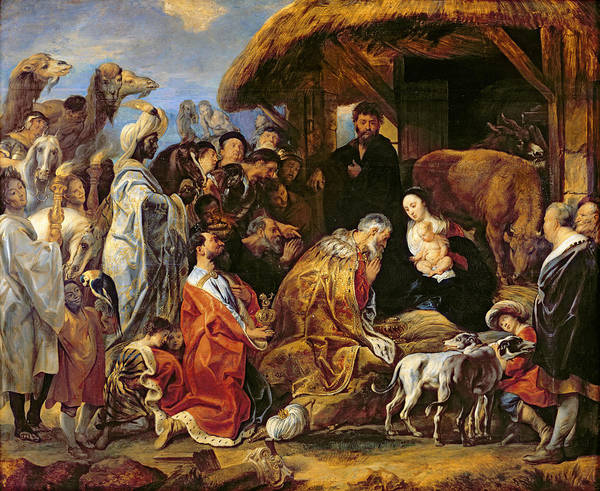 The Art Print featuring the painting The Adoration Of The Magi by Jacob Jordaens