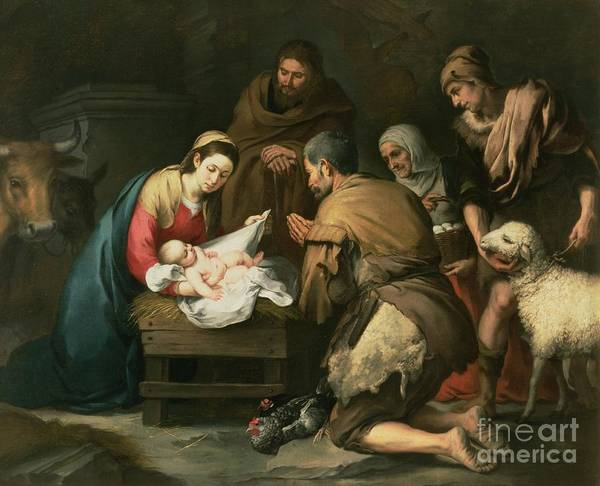 Adoration Art Print featuring the painting The Adoration Of The Shepherds by Bartolome Esteban Murillo