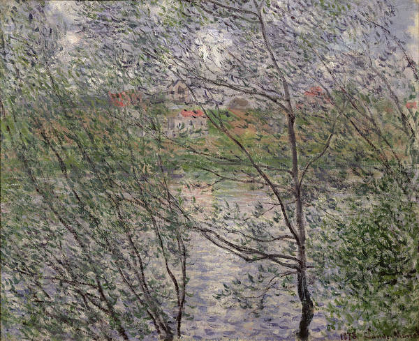 The Art Print featuring the painting The Banks Of The Seine by Claude Monet