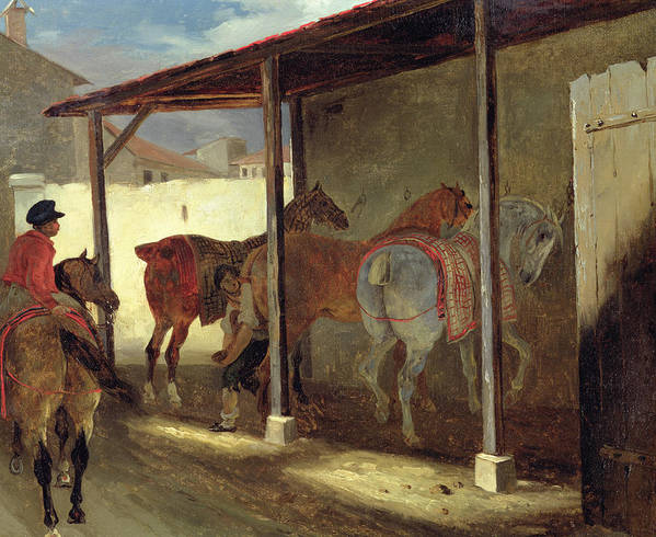 The Art Print featuring the painting The Barn Of Marechal-ferrant by Theodore Gericault