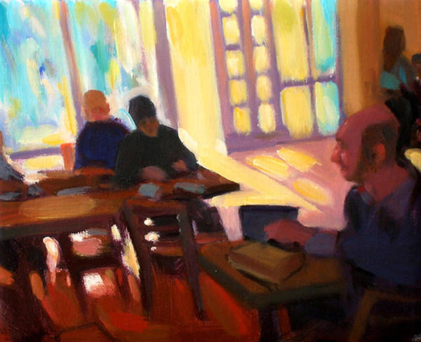 Cafe Art Print featuring the painting The Cafe by Merle Keller