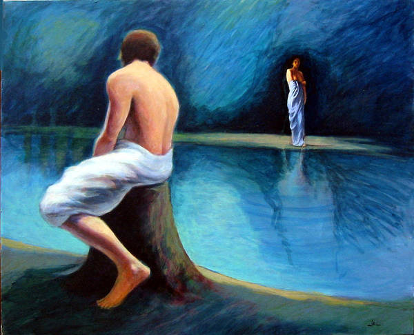 Nightscape Art Print featuring the painting The Couple by James LeGros