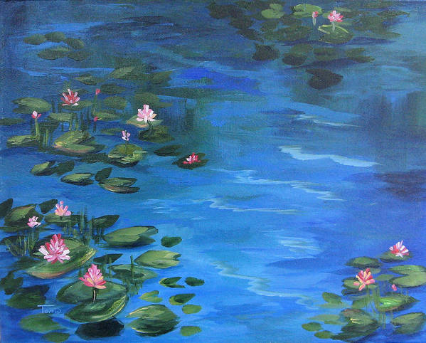 Lily Pond Art Print featuring the painting The Lily Pond II by Torrie Smiley