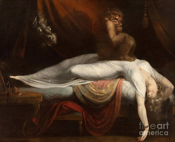 The Print featuring the painting The Nightmare by Henry Fuseli
