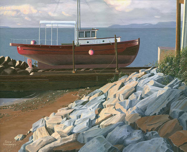 Ship Art Print featuring the painting The Red Troller Revisited by Gary Giacomelli