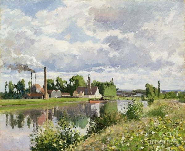 Camille Art Print featuring the painting The River Oise Near Pontoise by Camille Pissarro