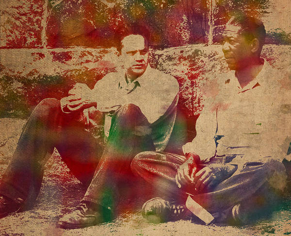 The Shawshank Redemption Art Print featuring the mixed media The Shawshank Redemption Movie Inspired Watercolor Portrait Of Tim Robbins And Morgan Freeman On Worn Distressed Canvas by Design Turnpike
