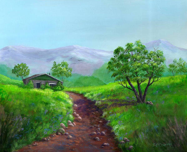 Landscape Art Print featuring the painting The Trappers Cabin by SueEllen Cowan