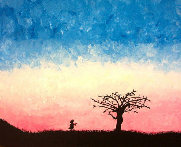 Child Art Print featuring the painting The Tree by Jennifer Hernandez