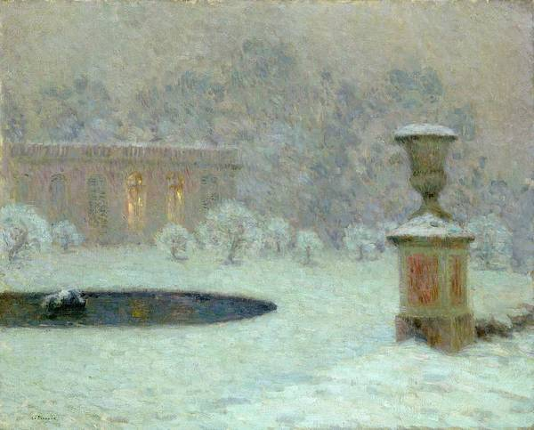 The Art Print featuring the painting The Trianon Under Snow by Henri Eugene Augustin Le Sidaner