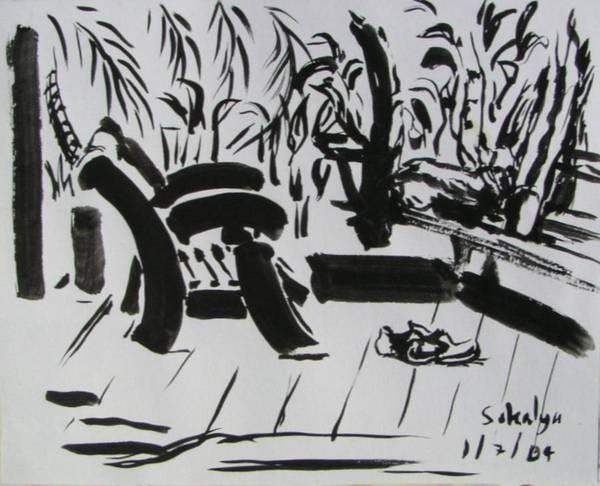 Chinese Art Print featuring the drawing The Veranda by Sukalya Chearanantana