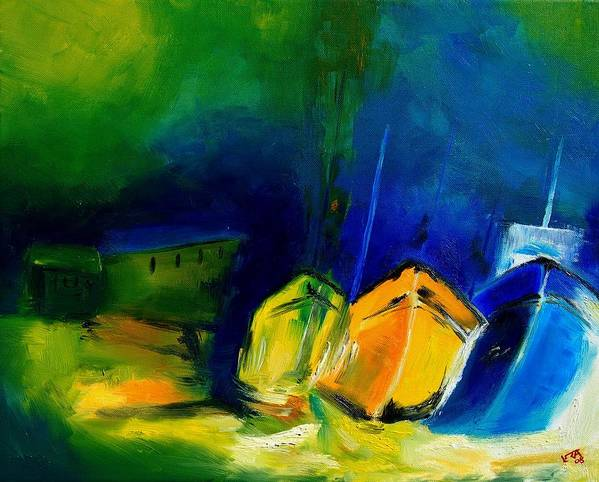 Boats Art Print featuring the painting Three Boats by Veronique Radelet