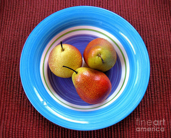 Nature Art Print featuring the photograph Three Pears In A Bowl by Lucyna A M Green