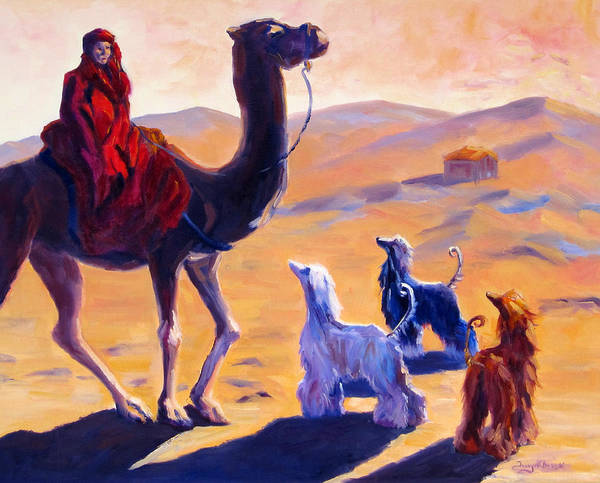 Afghan Hound Art Print featuring the painting Three Wise Men by Terry Chacon