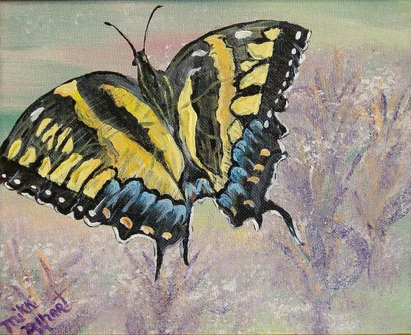 Butterfly Art Print featuring the painting Tiger Swallowtail by Mikki Alhart