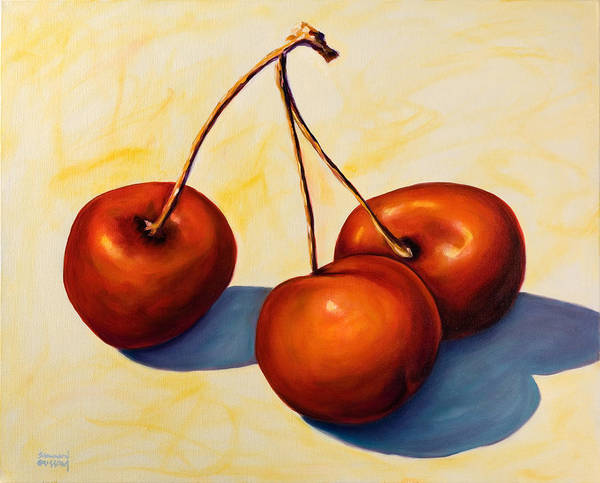 Cherries Art Print featuring the painting Trilogy by Shannon Grissom