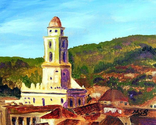 Cuban Painting Art Print featuring the painting Trinidad Church Cuba by Maria Soto Robbins