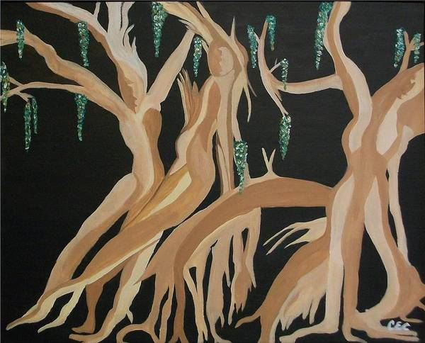 Feminine Art Print featuring the painting Trinity  The Banyan Tree by Carolyn Cable