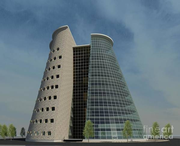 Building Rendering Art Print featuring the digital art Truncated Building by Ron Bissett