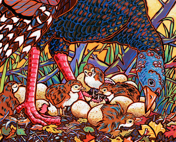 Turkey Art Print featuring the painting Turkeys by Nadi Spencer