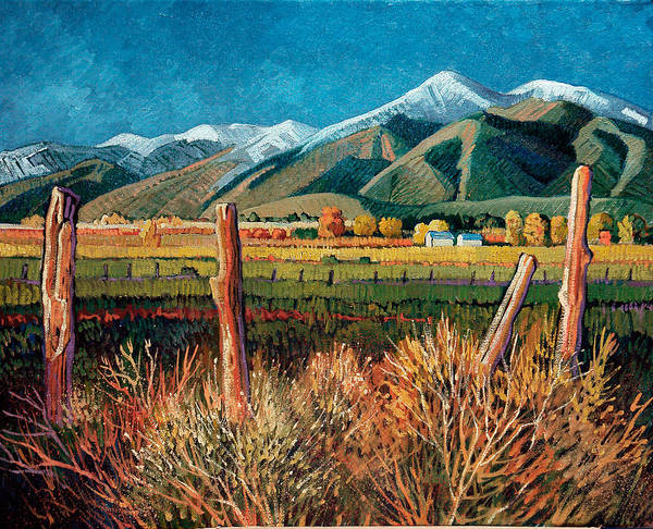 New Mexico Art Print featuring the painting Twilight On Taos Mountain by Donna Clair