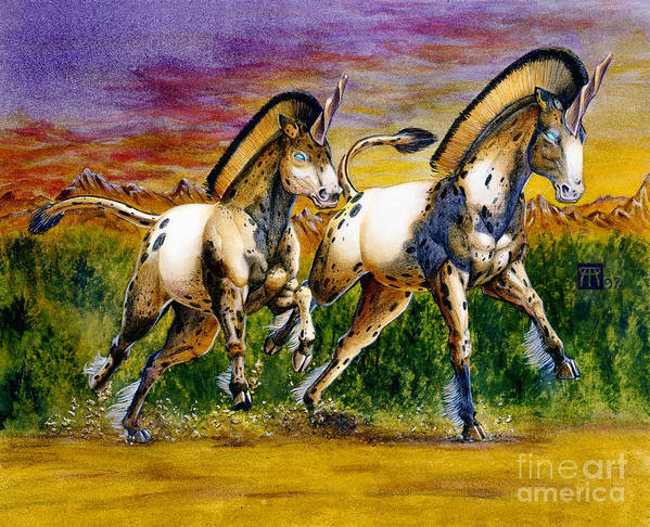 Artwork Art Print featuring the painting Unicorns In Sunset by Melissa A Benson