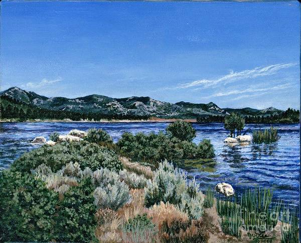 Landscap Painting Art Print featuring the painting View Of Lake Hemet by Jiji Lee