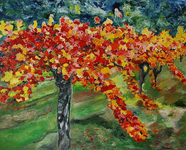 Vineyards Art Print featuring the painting Vineyards In Napa by Dorota Nowak
