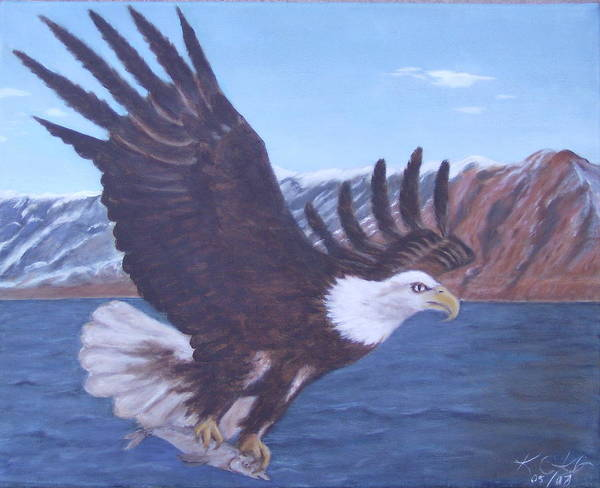 Eagle Art Print featuring the painting Walker Lake by KC Knight