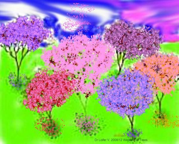 Sky.trees Art Print featuring the digital art Wedding Of Trees by Dr Loifer Vladimir