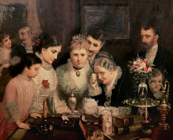 Wedding Presents Art Print featuring the painting Wedding Presents by JW Champney