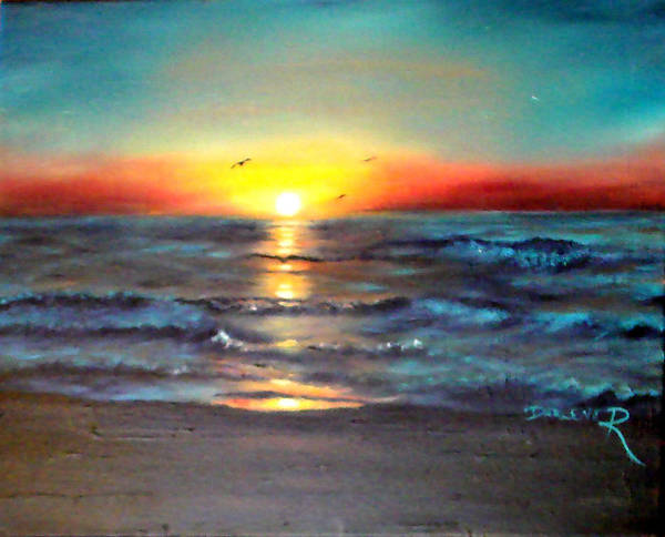 Sun Art Print featuring the painting Wedding Sunrise On Indian Harbour Beach Florida by Darlene Green