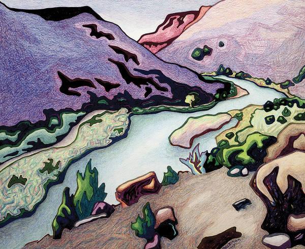 Where I Cross The Rio Grande Art Print featuring the drawing Where I Cross The Rio Grande by Dale Beckman