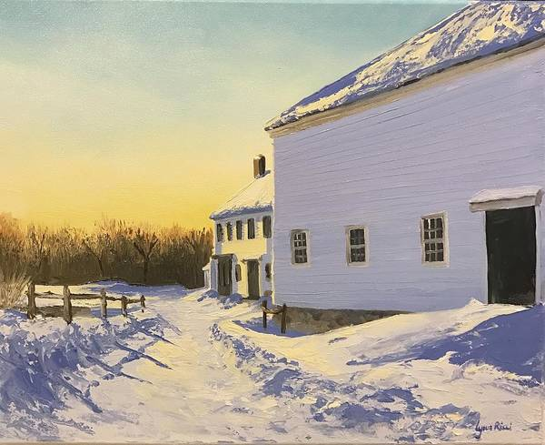 Farm Art Print featuring the painting Wright-locke Farm And Squash House by Lynn Ricci