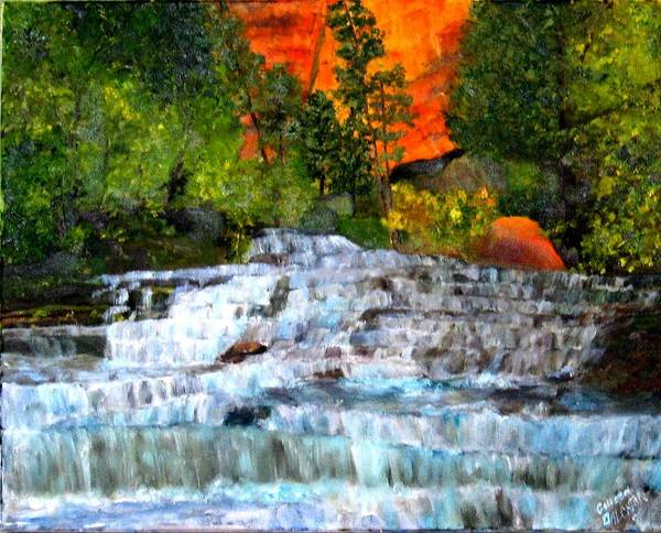 Waterfalls - Utah National Park - Landscape Art Print featuring the painting Zion National Park Utah by Colleen DalCanton