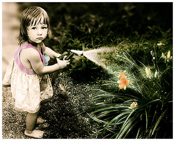Children Art Print featuring the photograph Zoe Waters The Flowers by Karen W Meyer