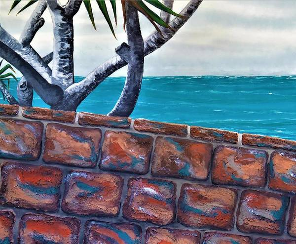 Beach Art Print featuring the painting Beach Fence by Joan Stratton