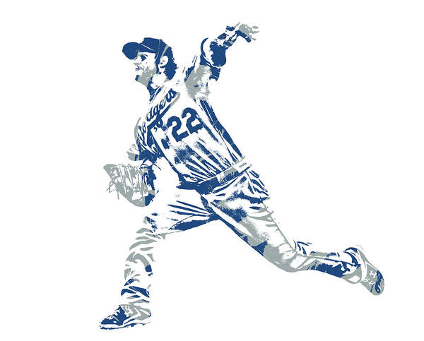 Clayton Kershaw Art Print featuring the mixed media Clayton Kershaw Los Angeles Dodgers Pixel Art 30 by Joe Hamilton