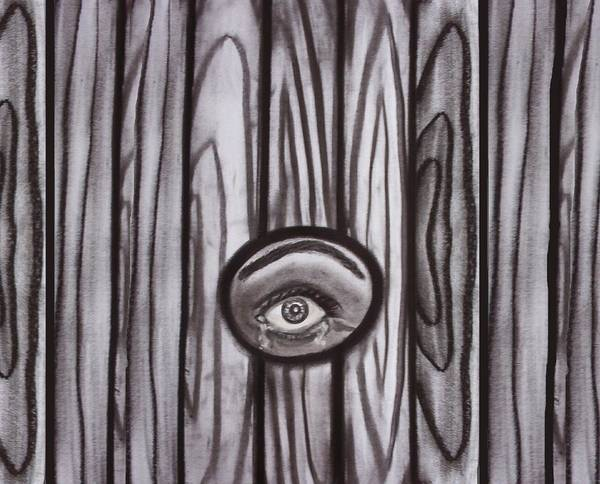 Eyes Art Print featuring the drawing Fear - Eye Through Fence by Joan Stratton
