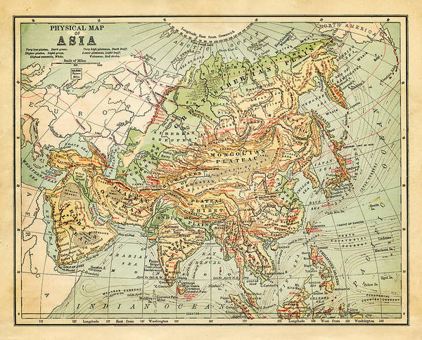 Map Of Asia To Print.Physical Map Of Asia Art Print By Thepalmer