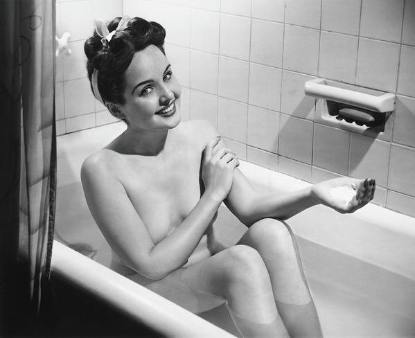 Human Arm Art Print featuring the photograph Woman Bathing, B&w, Portrait by George Marks