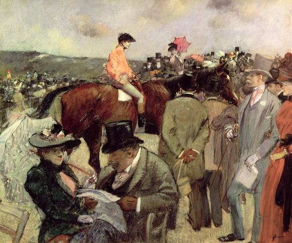 Jockey; Morning Coat; Top Hat; Parasol; Cane; Horse Racing; Impressionist; Fat Walrus; Reading; Race Course; Chevaux Art Print featuring the painting The Horse Race by Jean Louis Forain