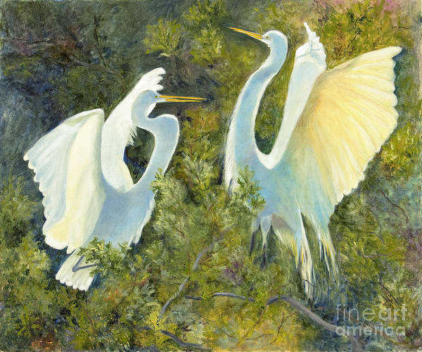 Egrets Art Print featuring the painting Golden Wings by Patricia Huff