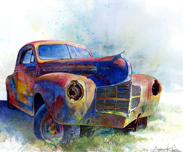 Car Art Print featuring the painting 1940 Dodge by Andrew King