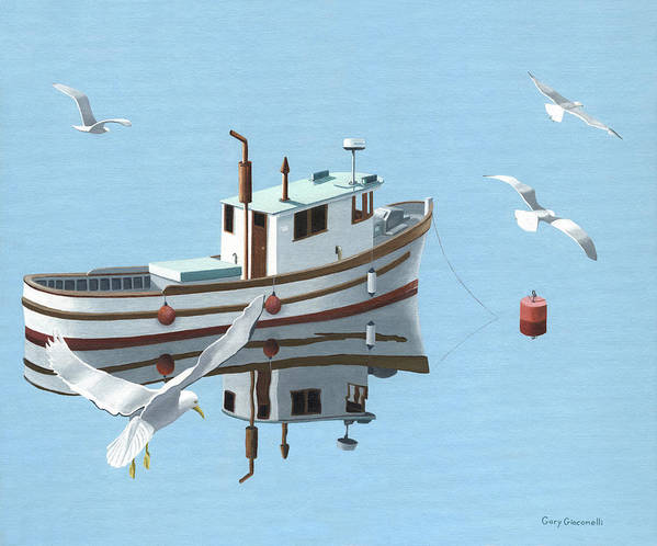 Boat Art Print featuring the painting A Contemplation Of Seagulls by Gary Giacomelli