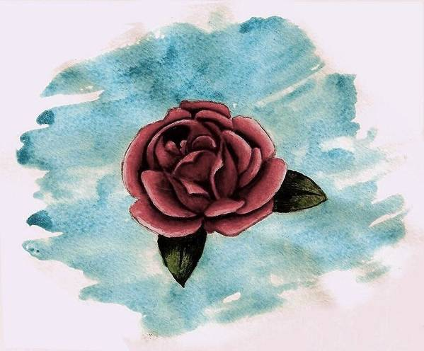 Rose Art Print featuring the painting A Single Rose by Ally Mueller