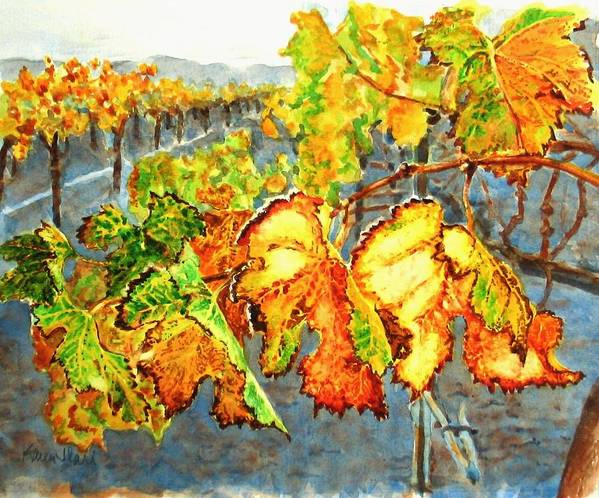Vineyard Art Print featuring the painting After The Harvest by Karen Ilari