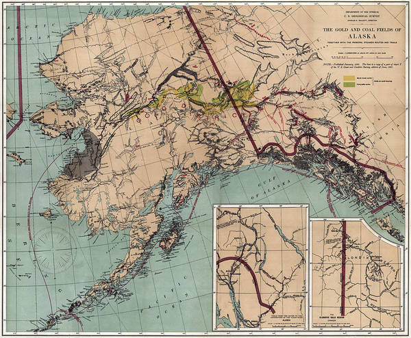 photo about Printable Maps of Alaska identify Alaska Coal And Gold Map 1898 Artwork Print
